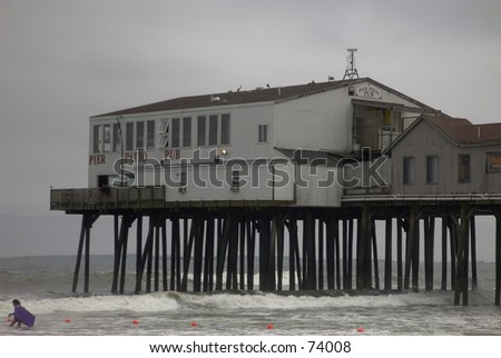The end of The Pier at Old Orchard Beach, Maine. - stock photo