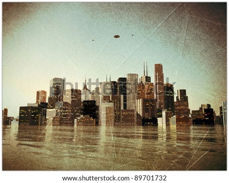 the end of the world in old grunge photo - stock photo