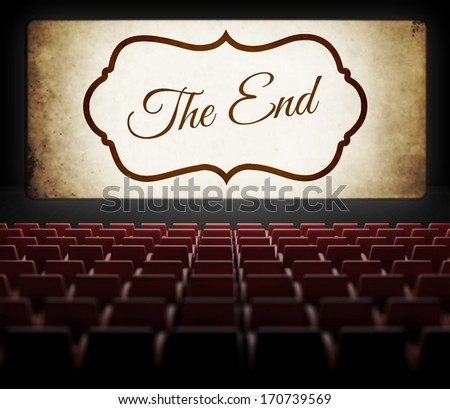 The End screen of Movie in old retro cinema, view from audience - stock photo