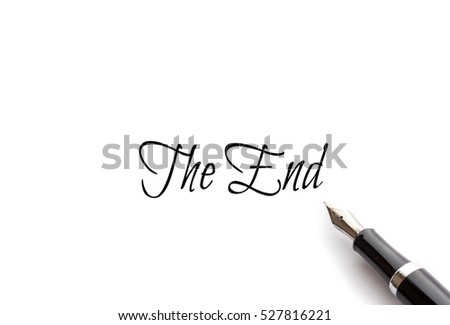 The End text on isolated background with Fountain pen