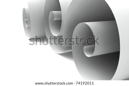 The ends of loosely rolled up papers isolated on white a background - stock photo