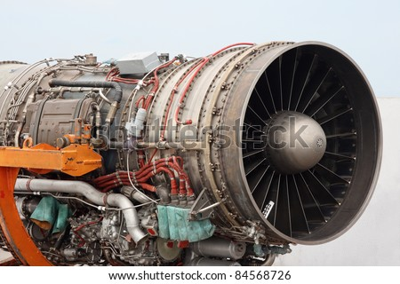 The engine of the jet plane the front view - stock photo