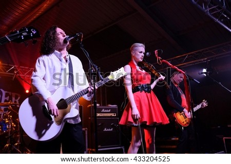 The Engine Rooms Southampton - March 4th 2016:  Miles Hunt and Erica Nockalls performing live  with The Wonder Stuff at the  Engine Rooms, Southampton, March 4, 2016 in Southampton, Hampshire, UK - stock photo
