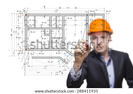 The engineer, architect draw the building plan on glass. - stock photo