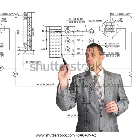 The engineer-designer professionally and qualitatively to solve challenges - stock photo