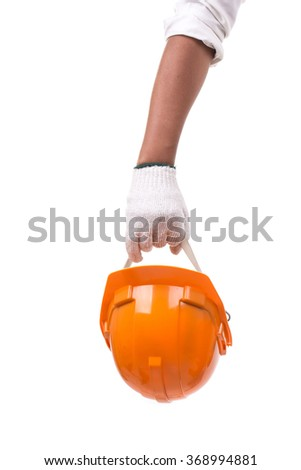 The Engineers hold helmet Safety orange isolated white background - stock photo