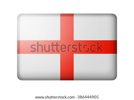 The England flag. Rectangular matte icon. Isolated on white background. - stock photo