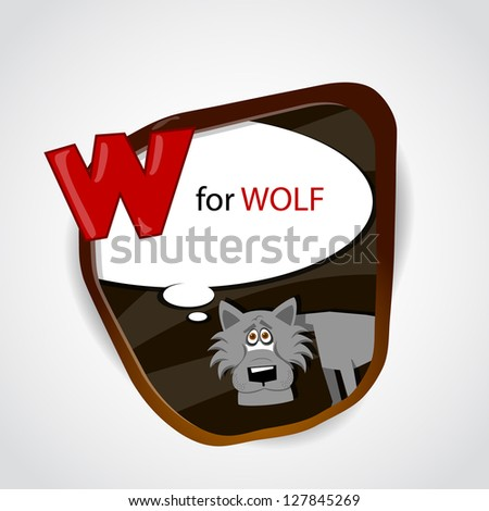 The English alphabet of animal theme. W for Wolf