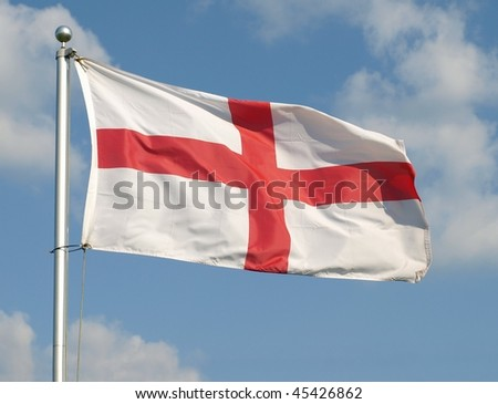 The English Flag, The Saint George's Cross, Flying at Full Mast - stock photo