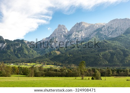 The Ennstal Alps with the Gesaeuse mountain range in the Enns valley is part of the northern Limestone Alps and national park in Styria, Austria. It is a water gap between Hiflau and Admont - stock photo