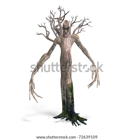 The Ent - Keeper of the forest. 3D rendering with clipping path and shadow over white - stock photo