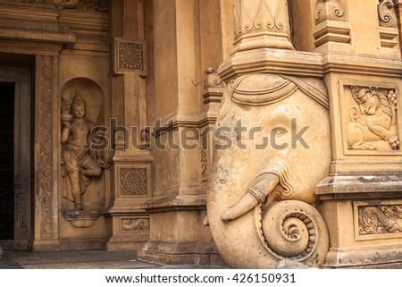The entrance at the Kelaniya temple in Sri Lanka. - stock photo