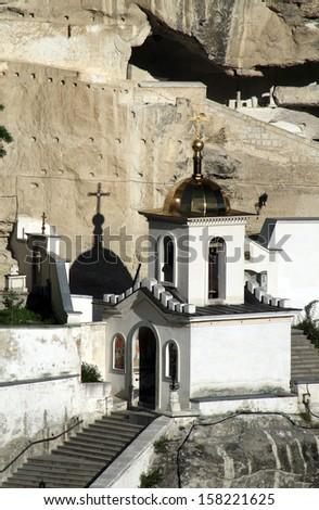 The Entrance Bell Tower in the Uspensky Cave Monastery, Crimea - Ukraine. - stock photo