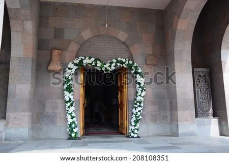 Entrance door st harutyun church spitak stock photo edit now the entrance door of st harutyun church in spitak with wedding decoration junglespirit Gallery