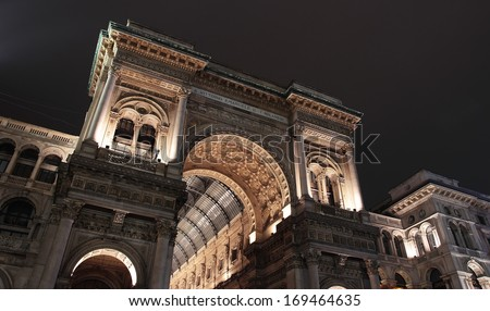 the entrance from the Duomo Square to Galleria Vittorio Emanuele in Milan. Italy - stock photo