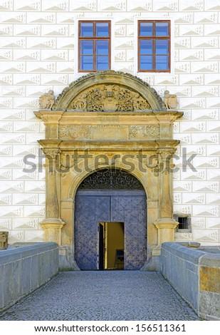 The entrance gate to the castle - Castle Pardubice / Pardubitz (Renaissance style) in Czech republic - stock photo