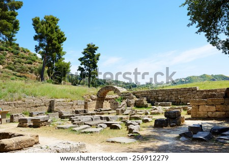 The entrance in ancient Olympia Stadium, Peloponnes, Greece - stock photo