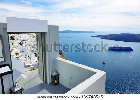 The entrance in restaurant and sea view terrace, Santorini island, Greece - stock photo