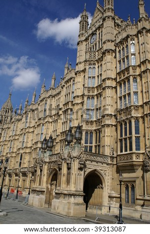 The entrance & lights of Westminster Palace/ The British Parliament, London, Uk - stock photo
