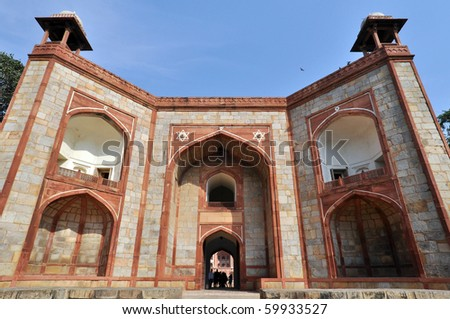 The entrance of Humayun Tomb in New Delhi during the sunny day, India. - stock photo
