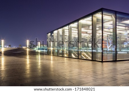 The entrance of shopping mall underground - stock photo
