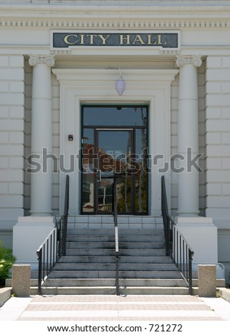 The entrance to a small town's city hall. - stock photo