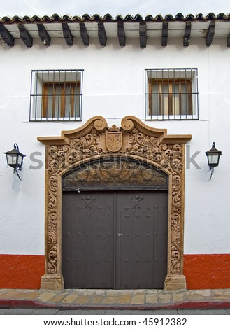 The Entrance to a Typical San Cristobal de las Casas Spanish Style House in Chiapas, Mexico - stock photo