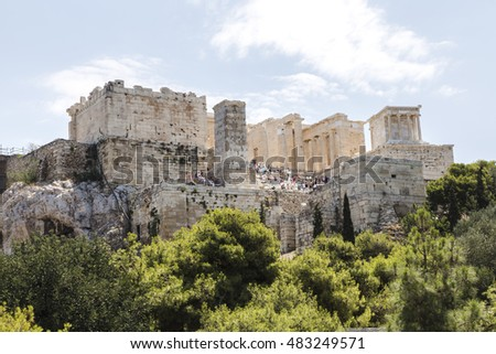 The entrance to Acropolis (Propilea) with columns, Athens, Greece