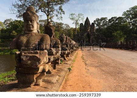 The entrance to Angkor Thom, former capital of Khmer empire, UNESCO heritage site, Angkor Historical Park, Cambodia. - stock photo