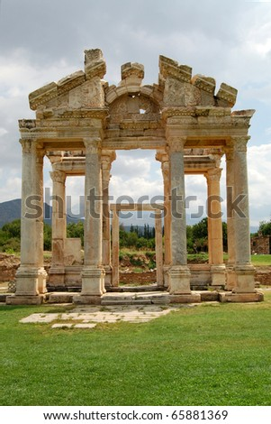 The entrance to Aphrodite's temple at  Aphrodisias, Turkey. The ancient city of Aphrodisias, once the capital of the province of Lydia, is located near the village of Geyre in the district of Karacasu - stock photo