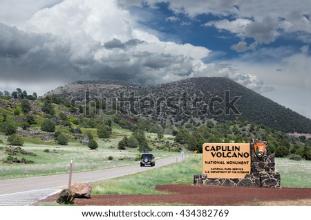 The entrance to Capulin Volcano National Monument, New Mexico, US
