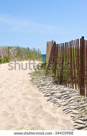 The entrance to the beach in beautiful Watch Hill Rhode Island. - stock photo