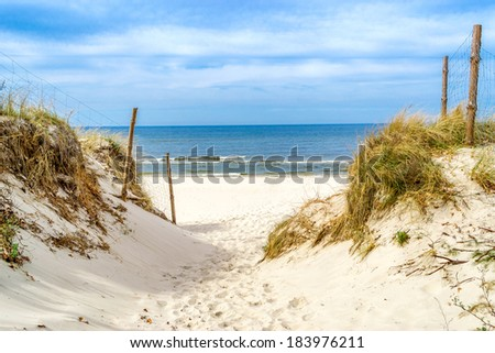 The entrance to the beach of the Baltic Sea - stock photo