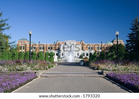 The entrance to the Montreal Botanical Gardens - stock photo
