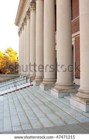 The Entrance to the most powerful knowldge in the world.  Harvard Library.  Steps & Columns before the main entrance.
