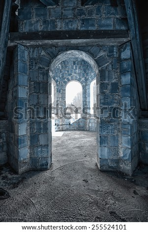 The entrance to the room in an abandoned building - stock photo
