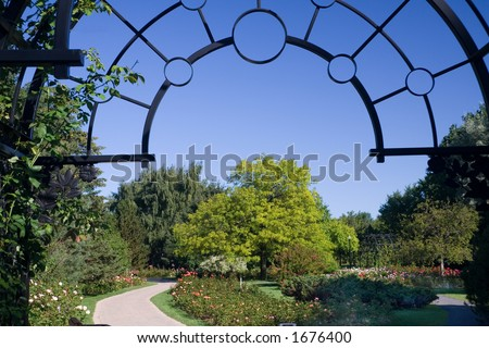 The entrance to the rose garden of the Montreal Botanical Gardens - stock photo