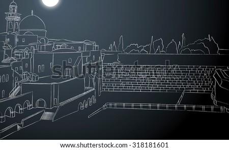 Line Drawing Jerusalem : Entrance western wall plaza jerusalem israel stock illustration