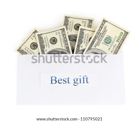 The envelope with the money bills isolated on white. Best gift. - stock photo