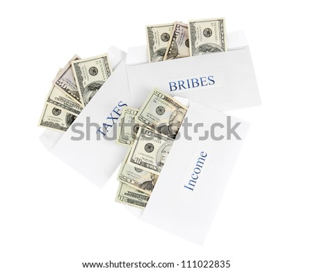 The envelopes with the money bills isolated on white