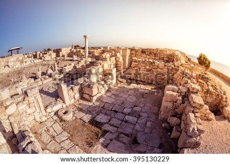 The Episcopal Precinct of Kourion illuminated by the last sunlight. Limassol District, Cyprus - stock photo