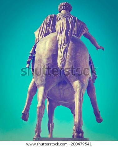 The Equestrian Monument of Marcus Aurelius in Rome, Instagram Effect - stock photo