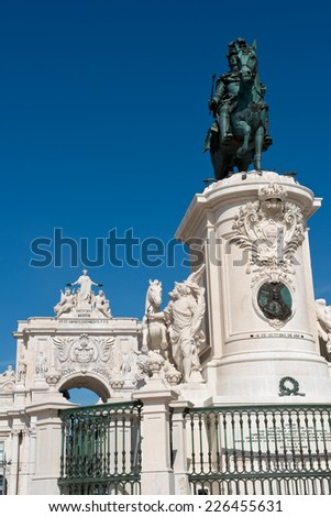 The Equestrian Statue of King Jose I and the Triumphal Arch of Augusta Street in Lisbon, Portugal - stock photo