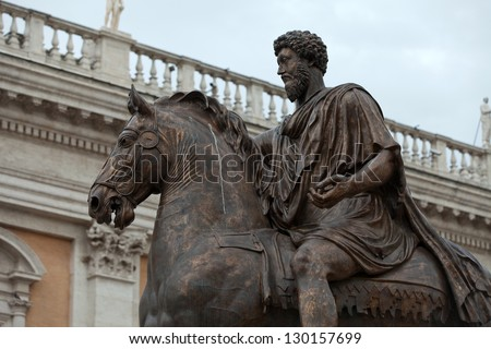The equestrian statue of Marcus Aurelius in Capitoline Hill, Rome, Italy. - stock photo