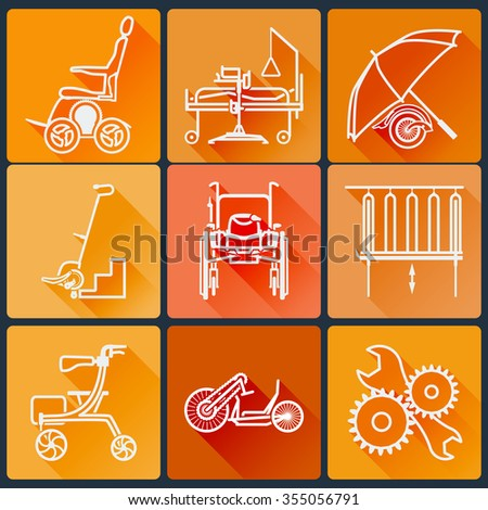 The equipment for people with disabilities. Set of bright icons flat in a fashionable style with long shadows in orange tones. Rasterized version. - stock photo