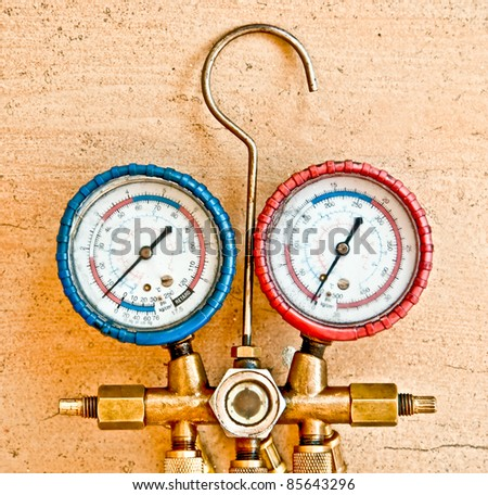 The Equipment Measure of Air Conditioner - stock photo