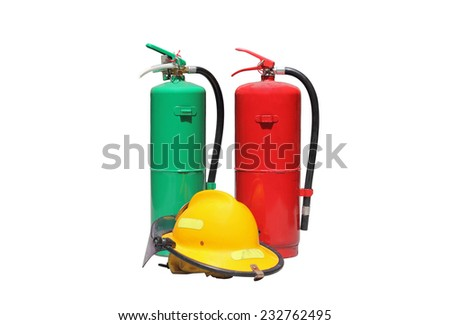 The equipment of the firefighters that traces of usage. Consists of a tank and fire safety helmet on a white background - stock photo