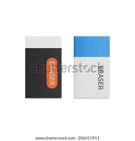 the eraser isolated is tool for correction on a white background of illustration paper cut - stock photo