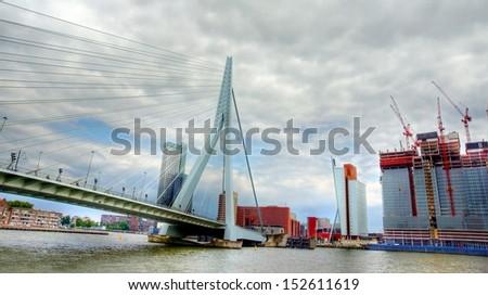 the erasmus bridge in Rotterdam, a famous  landmark of Rotterdam and the Netherlands - stock photo