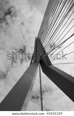 The Erasmus Bridge in Rotterdam (Netherlands) against the sky - stock photo